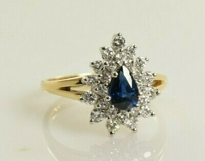 AU435.03 • Buy Sapphire And Diamond Ring In 14k Yellow Gold .92 Carats Size 6.5