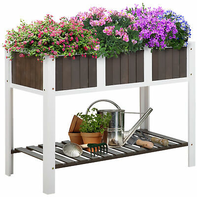 £57.99 • Buy Outsunny Wooden Planter Raised Elevated Garden Bed With Shelf Outdoor/Indoor