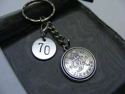 £5.95 • Buy 1951 Lucky Sixpence & Number 70 Charm Keyring - 70th Birthday Gift - (SK00)