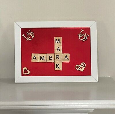 "Personalised Scrabble Art Picture Valentines Birthday Gift 7"" X 5"" Box Frame • 8£"