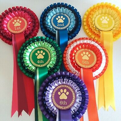 £9.45 • Buy Set 1-6 3Tier Dog Show Rosettes Personalised Or Non Personalised FREE POSTAGE
