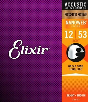 $ CDN57.35 • Buy  (3 SETS) Elixir Phosphor Bronze NanoWeb Acoustic Guitar Strings 12-53 Lt Coated