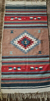 Vintage Woven Southwest Mexican Blanket Rug Runner Textile Striped 57x28  Used • 73.62£