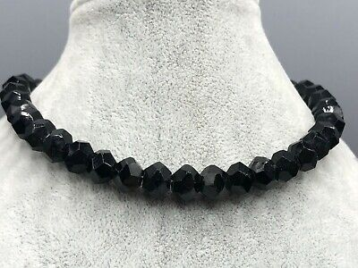 £25 • Buy French Jet Necklace Black Glass Bead Beaded Faceted Vintage Costume Jewellery
