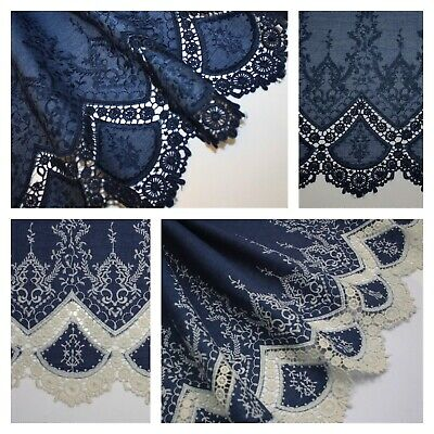 EMBROIDERED Broderie Anglaise / Lace Edged 100% COTTON Chambray Fabric Denim • 8£