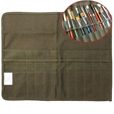 £6.97 • Buy 22 Slots Roll Up Canvas Paint Brush Storage Case Bag Holder Pouch Organizer~.