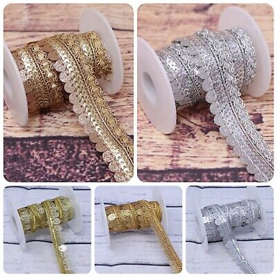 3 Y Sparkling Sequence Edging Lace Trim Metallic Colour Embellish And Decoration • 3.99£