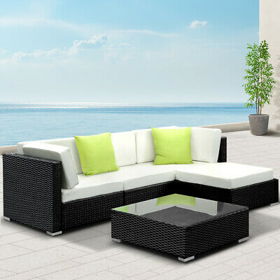 AU540.75 • Buy Outdoor Sofa Set Patio Lounge Setting Wicker Furniture With Storage Cover 5PCS
