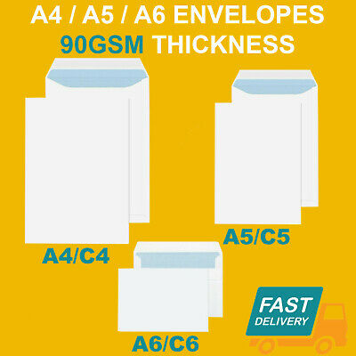 £16.15 • Buy Quality Plain 90gsm White Envelopes Self Seal Strong Paper C5/a5 C6/a6 C4/a4