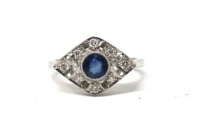 A Wonderful Vintage Art Deco Style 18ct White Gold Sapphire & Diamond Ring 24112 • 229.50£