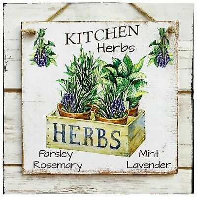 £10.50 • Buy Wooden Hanging Sign/picture Rustic Kitchen Herbs Lavender Farm Garden Sign