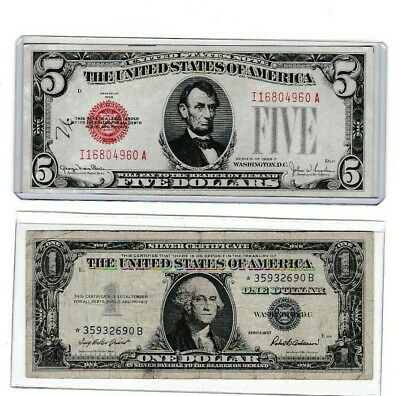 $ CDN30.62 • Buy 1928 F $5 Red Seal With Ink & 1957 $1 Silver Certificate Star ***Note, Lot 1 Ea