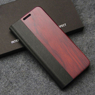 AU21.65 • Buy Wood Bamboo Flip Case PC & Leather Phone Cover Stand For Samsung Galaxy S10+ S8