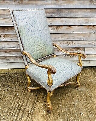 LOVELY ANTIQUE 19th CENTURY FRENCH GILTWOOD UPHOLSTERED CARVER CHAIR , C1900 • 195£