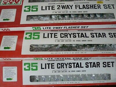 $ CDN18.97 • Buy 3 Packages Vintage Earl May Christmas Light Strand RED BLUE GREEN CRYSTAL STAR