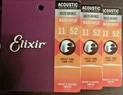 $ CDN56.08 • Buy (THREE SETS) Elixir 80/20 Bronze NanoWeb Acoustic Guitar Strings 11-52 Lt Coated