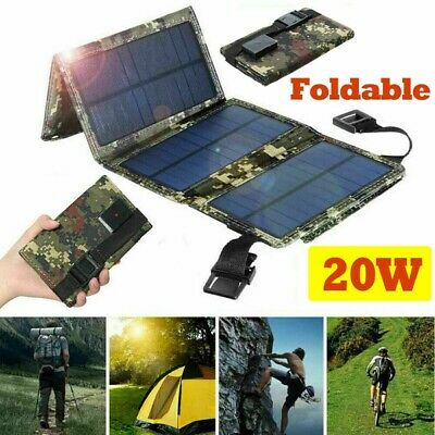 20W Solar Panel USB Power Bank Folding Camping Hiking Outdoor Battery Charger • 17.22£