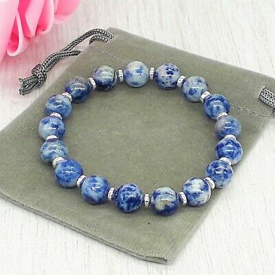 Handmade Natural Sodalite Gemstone Stretch Bracelet & Velvet Pouch. 4/6/8mm. • 4.79£