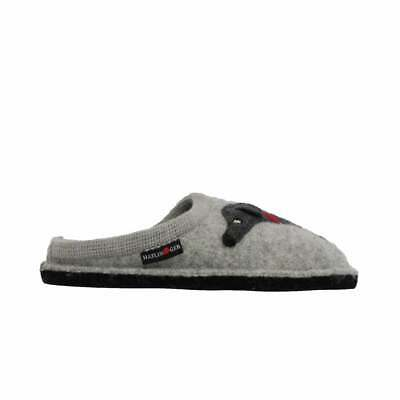 Haflinger Doggy Grey Wool With Dog Motif Womens Slip On Mule Slippers • 53.99£