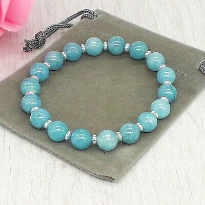 Handmade Natural Chalcedony Gemstone Stretch Bracelet & Velvet Pouch. 4/6/8mm. • 4.79£