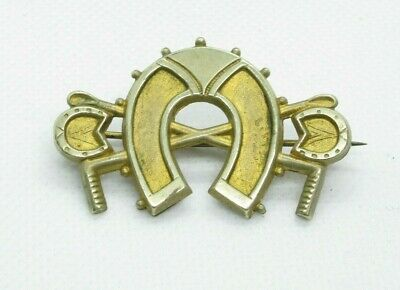 Antique Lucky Horseshoe Pinchbeck Pin Brooch • 5.50£
