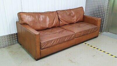 1 Of 2 Timothy Oulton Halo Viscount William Brown Leather Sofas Vintage No Chair • 1.04£
