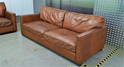 2 Of 2 Timothy Oulton Halo Viscount William Brown Leather Sofas Vintage No Chair • 1.04£