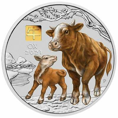 AU2349 • Buy 2021 Year Of The Ox 1kg Kilo .9999 Silver Coin With GOLD PRIVY MARK - Series III
