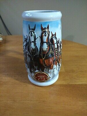 $ CDN12.76 • Buy  Budweiser  Beer Stein Christmas Clydesdales 1933-2008 75th Anniversary
