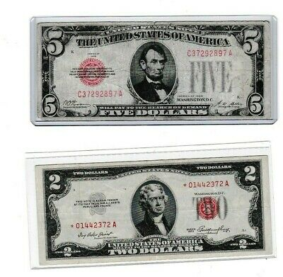 $ CDN63.80 • Buy 1953 Red Seal $2  ⭐ Us Note & 1928 Plain Fr 1525 $5 1st Year Note, Lot Of 1 Each