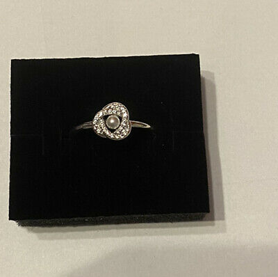 Pandora Shimmering Knot Silver Ring With Crystal Pearl & Clear CZ Size 60 BN • 29£