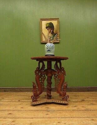 Antique Far Eastern Carved Octagonal Table With Dragons, Marvellously Aged • 195£