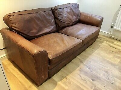 John Lewis Halo 3 Seater Sofa Brown Leather • 250£