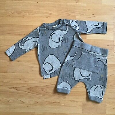 Baby Boy Clothes 0-3 Months Next Outfit Grey Elephant Print Top Matching Bottoms • 4£