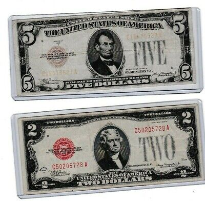 $ CDN31.90 • Buy 1928B $5 UNITED STATES WITH RED SEAL & 1928D $2 Red Seal Lot Of 1 Each