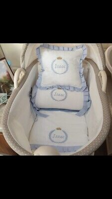 £90 • Buy Hand Made Boys White And Blue Crown Crib Cot Bedding Set