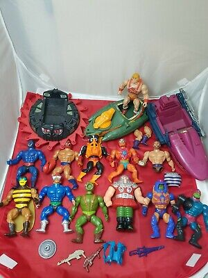 $52 • Buy Huge Vintage He-Man MOTU Masters Of The Universe Figure LOT Vehicles Weapons
