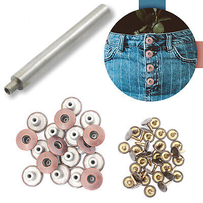 14mm Bronze Jeans Buttons Replacement On Denim With Hand Tool Jacket Trousers • 2.59£