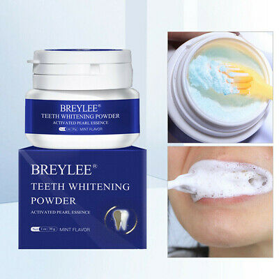 UK - 30g BREYLEE Teeth Whitening Powder Toothpaste Tooth Remover Plaque Stains, • 5.89£