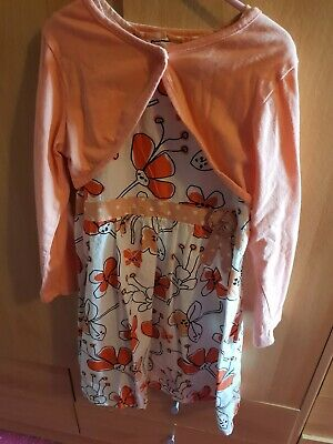 £4 • Buy Girls 6-7 Years Coral Floral Summer Dress And Cardi Set