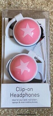 CLIP-ON HEADPHONES PINK STAR BRAND NEW IN PACKET Superb • 0.99£
