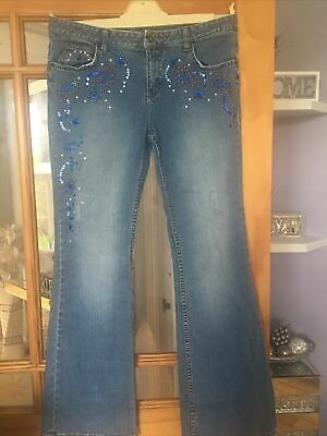 Star Sequin Beaded Jeans Size 14 • 2.99£