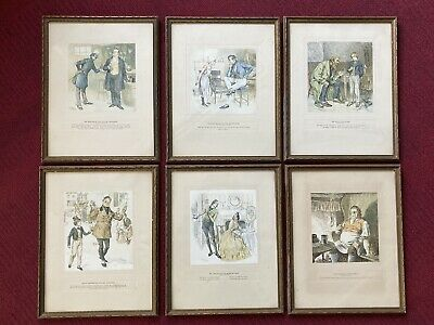 Set Of Six Framed Frank Reynolds Illustrations From Charles Dickens Stories • 40£