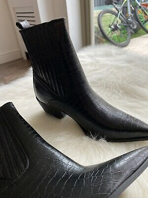 Missguided Black Croc Leather Boots 6 • 5.10£