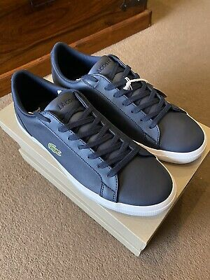 Lacoste Lerond BL 1 Mens Blue Leather Lace Up Trainers Shoes Size Uk 10 • 49.99£