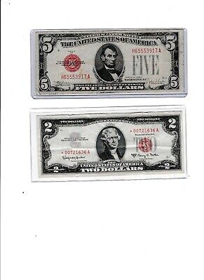 $ CDN33.17 • Buy 1963 Star $2 Red Seal 00 & 1928E $5 Red Seal Lot Of 1 Each