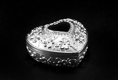Jewellery Box Heart With Flowers Motif Case Silver Engraving New • 23.01£