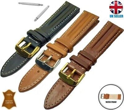 ITALIAN LEATHER HANDMADE WATCH STRAP BAND BLACK BROWN TAN 18-20-22-24MM Omega • 6.99£