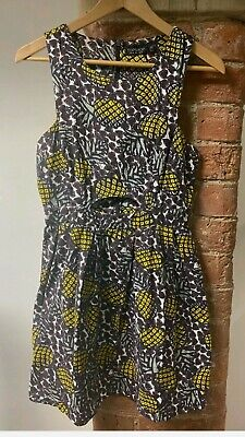 Topshop Pineapple & Heart Print Cut Out Dress Size UK 8 • 5.99£