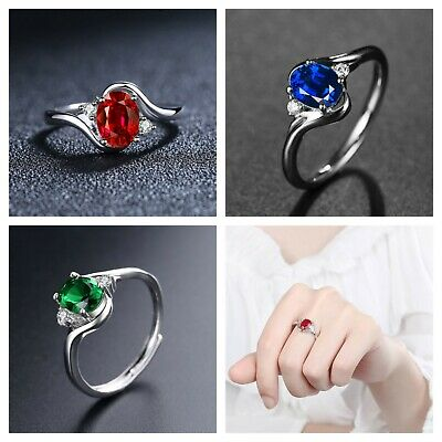£3.99 • Buy 925 Sterling Silver Emerald Sapphire Ruby Crystal Stone Adjustable Ring Womens